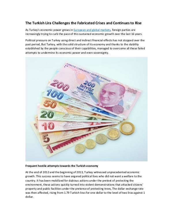The Turkish Lira Challenges the Fabricated Crises