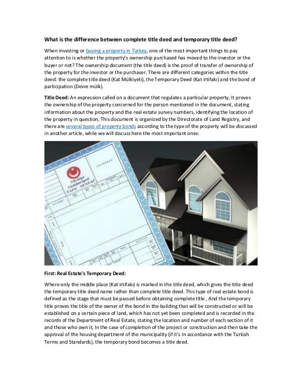 Real Estate in Turkey What is the difference between complete title deed