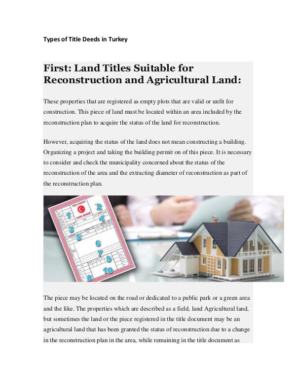 Real Estate in Turkey Types of Title Deeds in Turkey