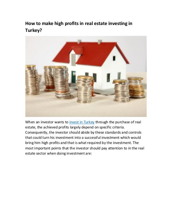 How to make high profits in real estate investing