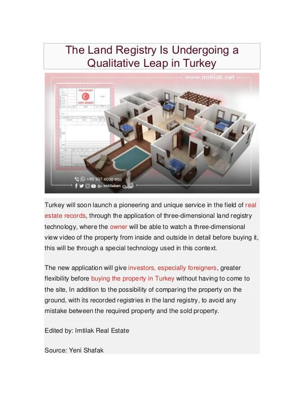 Real Estate in Turkey The Land Registry Is Undergoing a Qualitative Leap