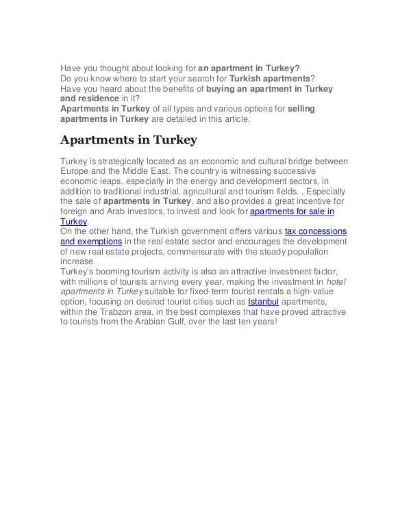 Your Full Guide to Apartments for Sale in Turkey