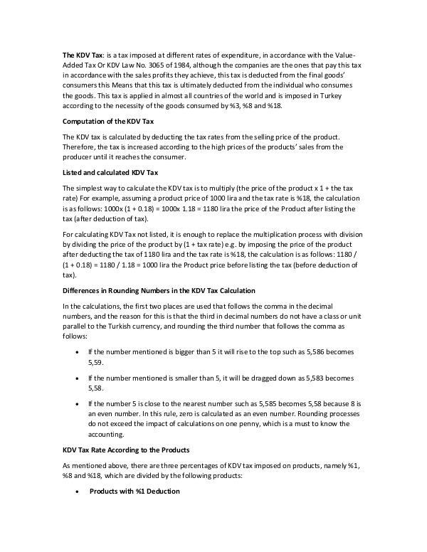 KDV Tax in Turkey
