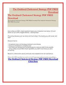 Scott Davis:The Oxidized Cholesterol Strategy PDF Free Download