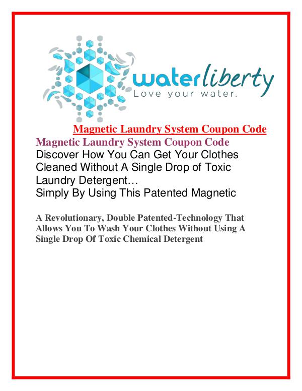 Water Liberty:Magnetic Laundry System Coupon Code $93 Off Magnetic Laundry System Discount
