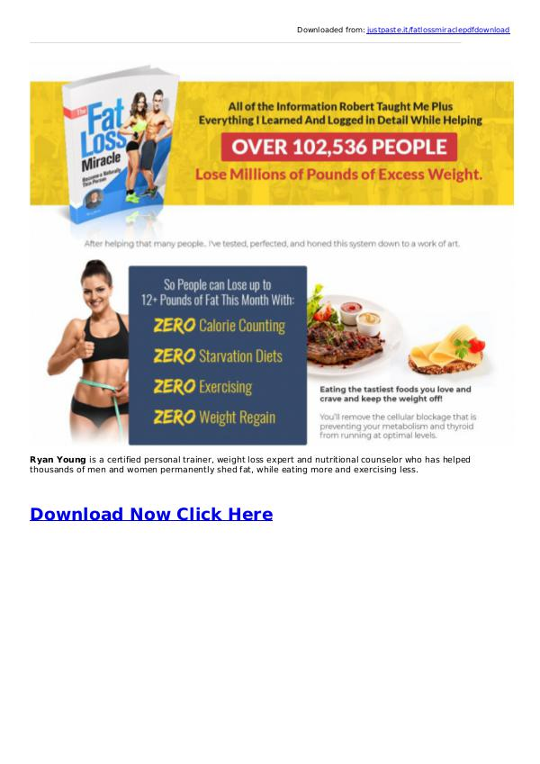 Ryan Young: Fat Loss Miracle System PDF eBook Free Download [FREE PDF] Ryan Young's The Fat Loss Miracle Book