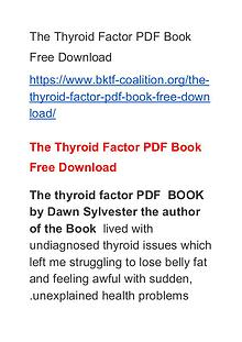 Dawn Sylvester:The Thyroid Factor PDF Book Free Download