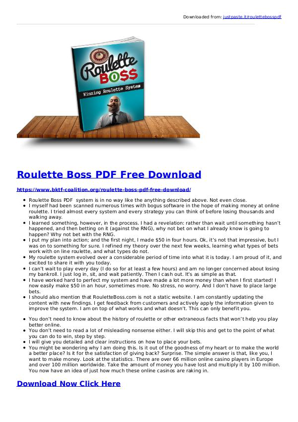 Roulette Boss System PDF eBook Free Download Roulette Boss System PDF Free Download