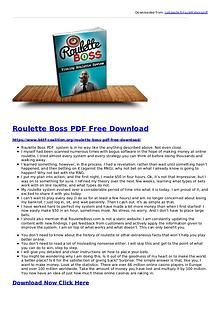 Roulette Boss System PDF eBook Free Download