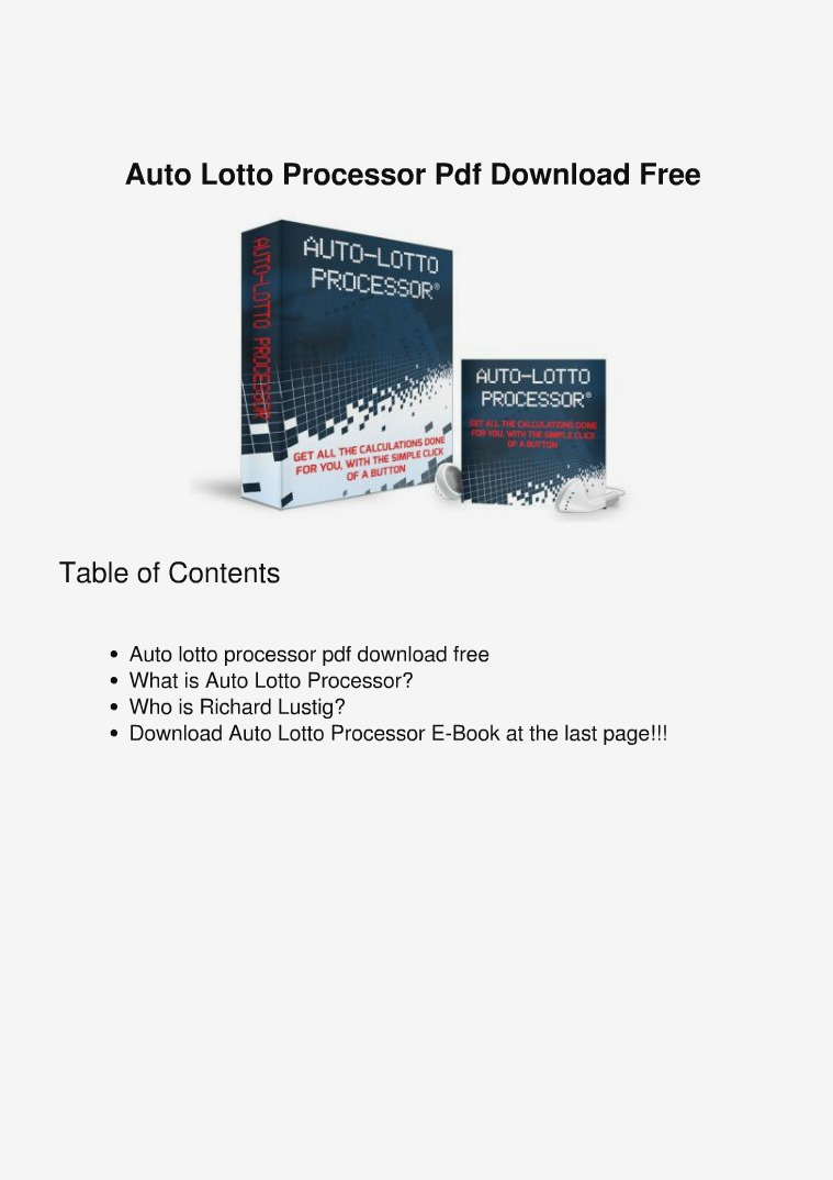 Richard Lustig :Auto lotto processor PDF eBook Free Download Auto Lotto Processor Richard Lustig Program