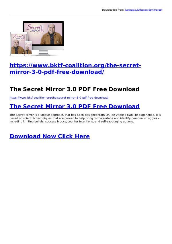 Joe Vitale:The Secret Mirror 3.0 PDF Ebook Free Download The Secret Mirror 3.0 PDF Free Download