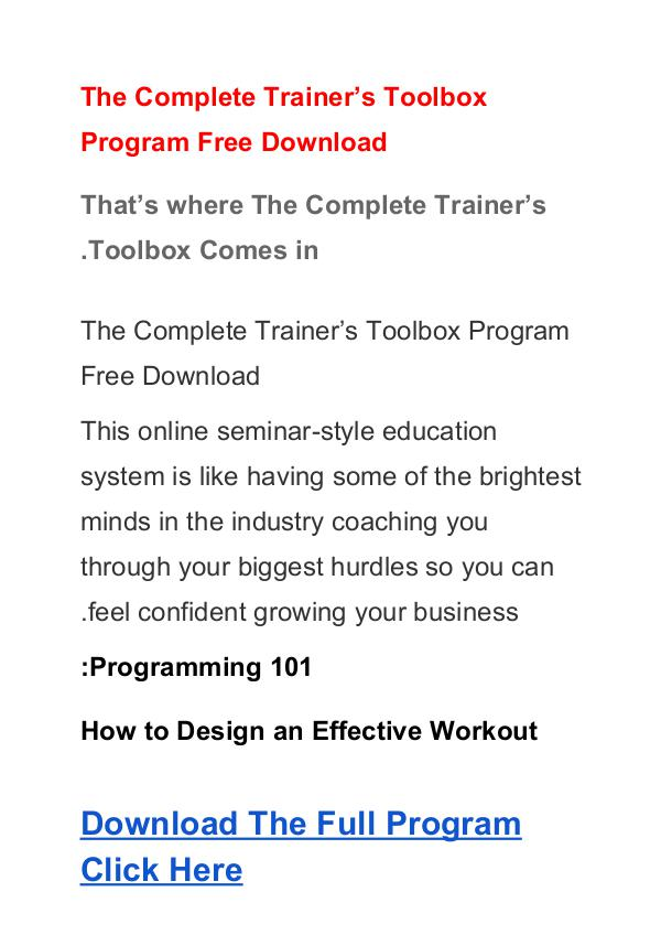 The Complete Trainer's Toolbox Program  PDF Ebook Free Download The Complete Trainers Toolbox PDF  Free Download