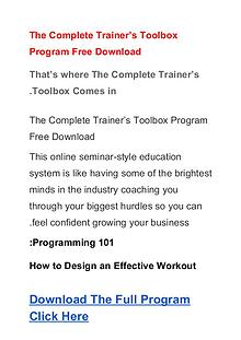 The Complete Trainer's Toolbox Program  PDF Ebook Free Download