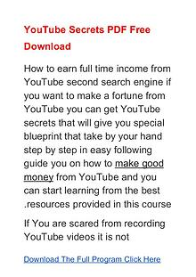 YouTube Secrets Program PDF Free Download