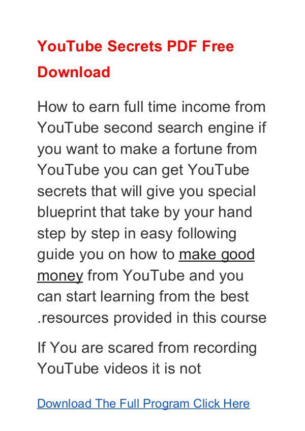 YouTube Secrets Program PDF Free Download YouTube Secrets Program Mike Williams Free