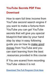 YouTube Secrets Program PDF Free Download