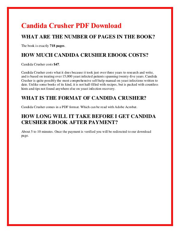 Candida Crusher  Diet Book Program Free Download