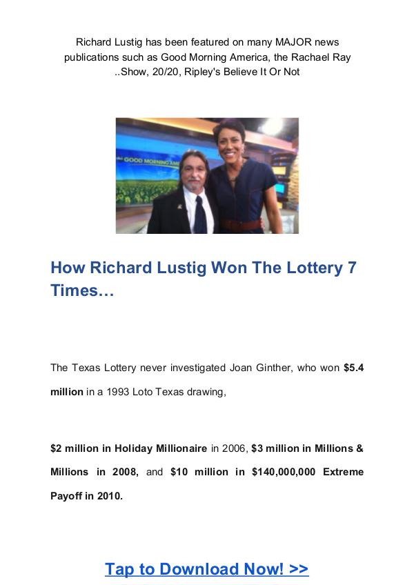 Richard Lustig: Lotto Annihilator System Free Download Lotto Annihilator PDF Free Download