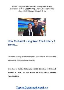 Richard Lustig: Lotto Annihilator System Free Download