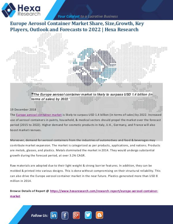 Market Analysis Report Europe Aerosol Container Market