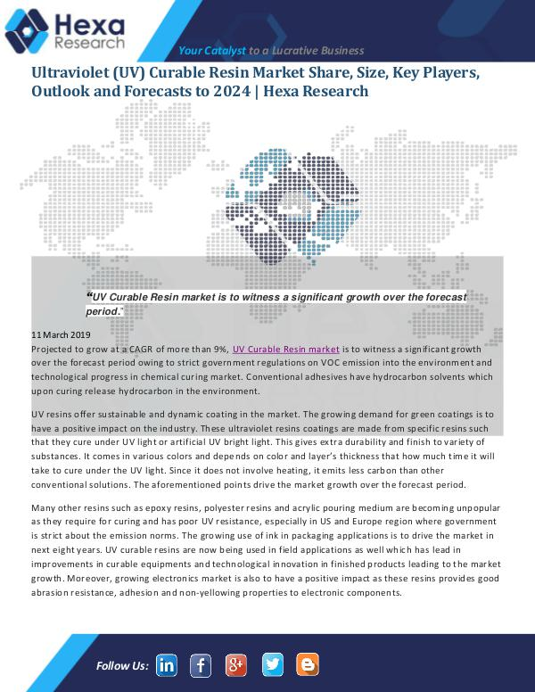 Market Analysis Report Ultraviolet (UV) Curable Resin Market