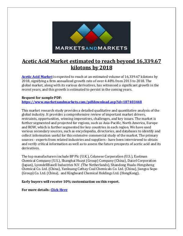 Chemicals and Materials Acetic Acid Market