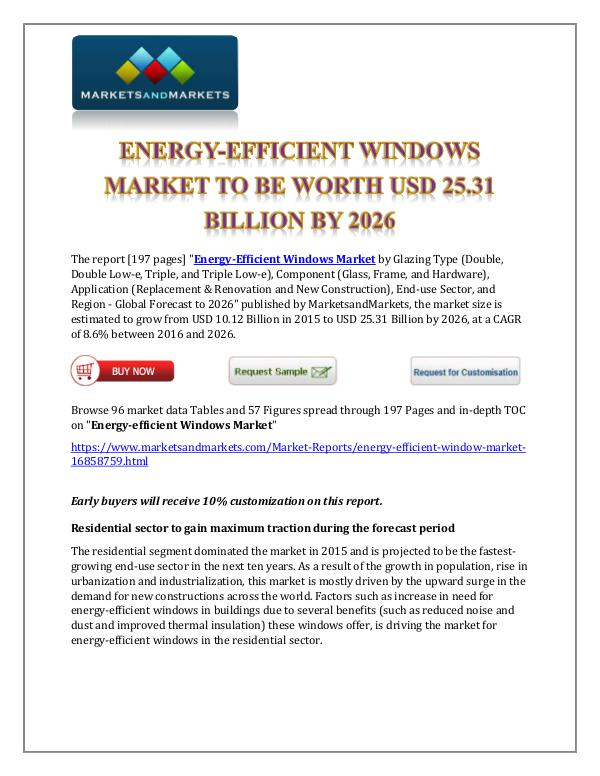 Chemicals and Materials Energy Efficient Windows Market New