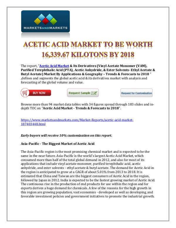 Chemicals and Materials Acetic Acid Market New