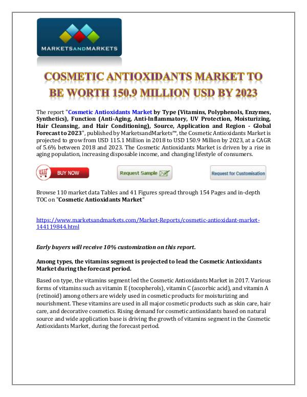 Chemicals and Materials Cosmetic Antioxidants Market New
