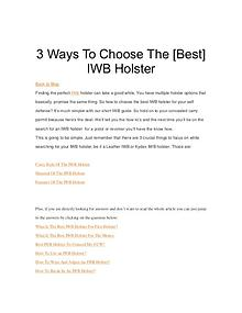 3 Ways To Choose The [Best] IWB Holster