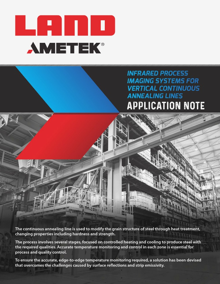 Infrared Process Imaging Systems For Vertical Continuous Annealing Li AMETEK Land Infrared Process Imaging Systems Rev 1