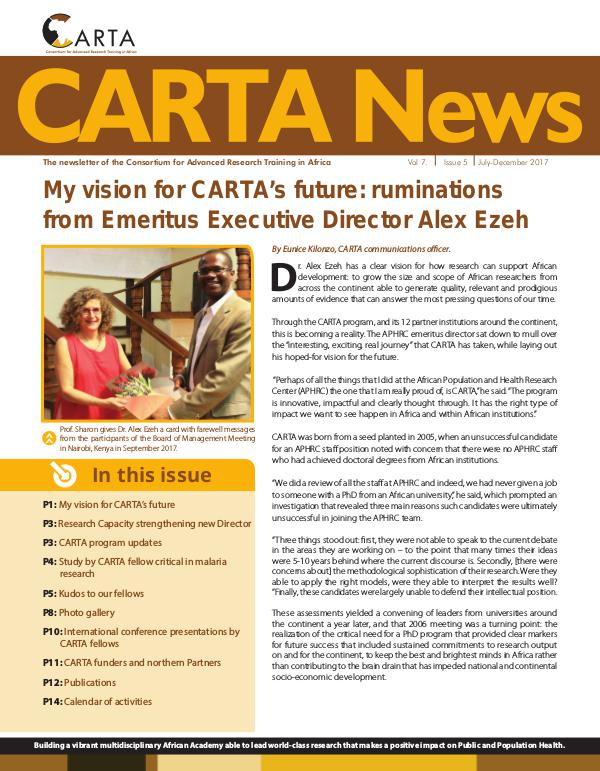 CARTA Newsletter (July-Dec 2017) CARTA NEWSLETTER July Dec 2017