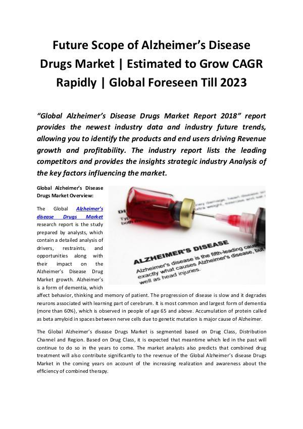Alzheimer's Disease Drugs Market 2018 - 2023