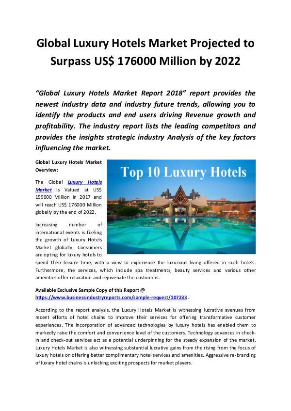 Luxury Hotels Market 2018 - 2022
