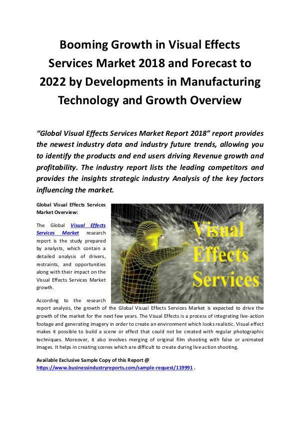 Visual Effects Services Market 2018 - 2022
