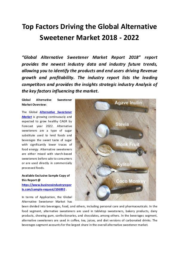 Global Alternative Sweetener Market 2018 - 2022