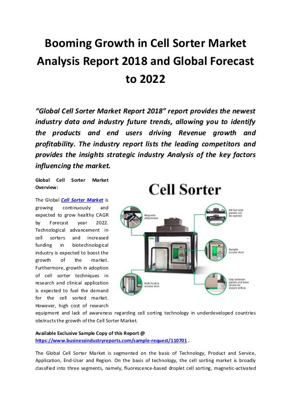 Market Research Reports Global Cell Sorter Market Report 2018 - 2022