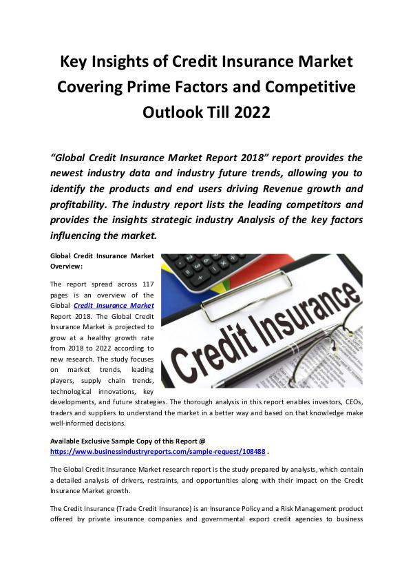 Global Credit Insurance Market 2018 - 2022