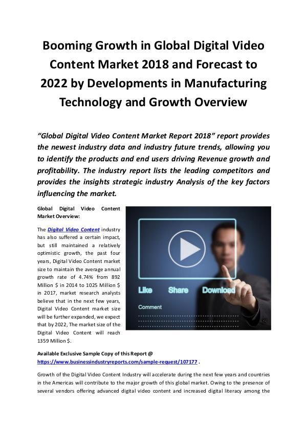Global Digital Video Content Market 2018 - 2022