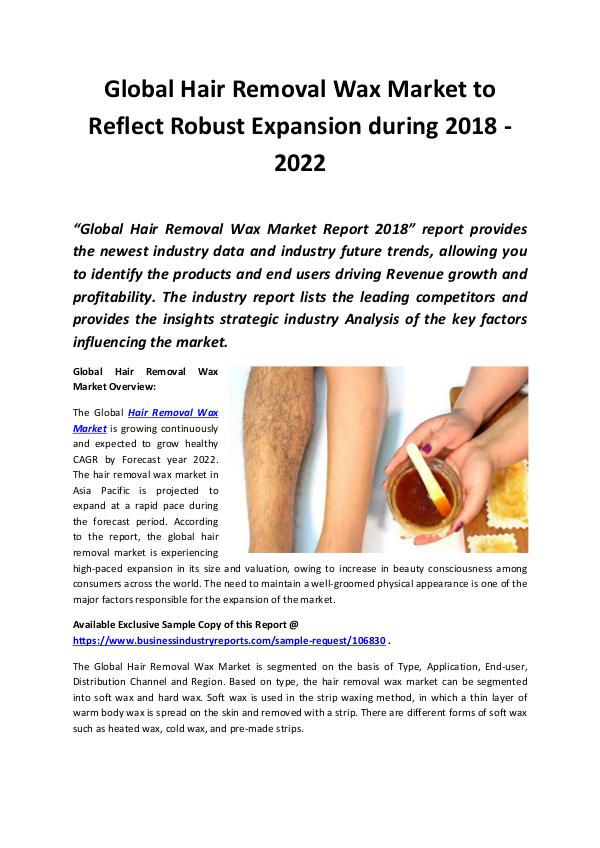 Market Research Reports Global Hair Removal Wax Market 2018 - 2022
