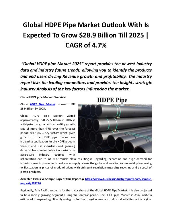 Global HDPE Pipe Market 2018 - 2025