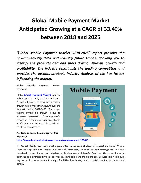 Global Mobile Payment Market 2018 - 2025