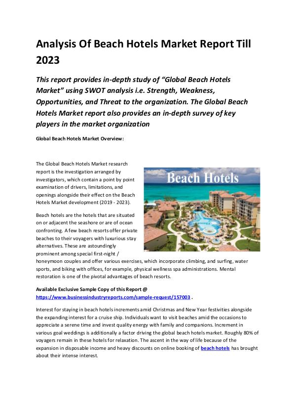 Global Beach Hotels Market Report 2019