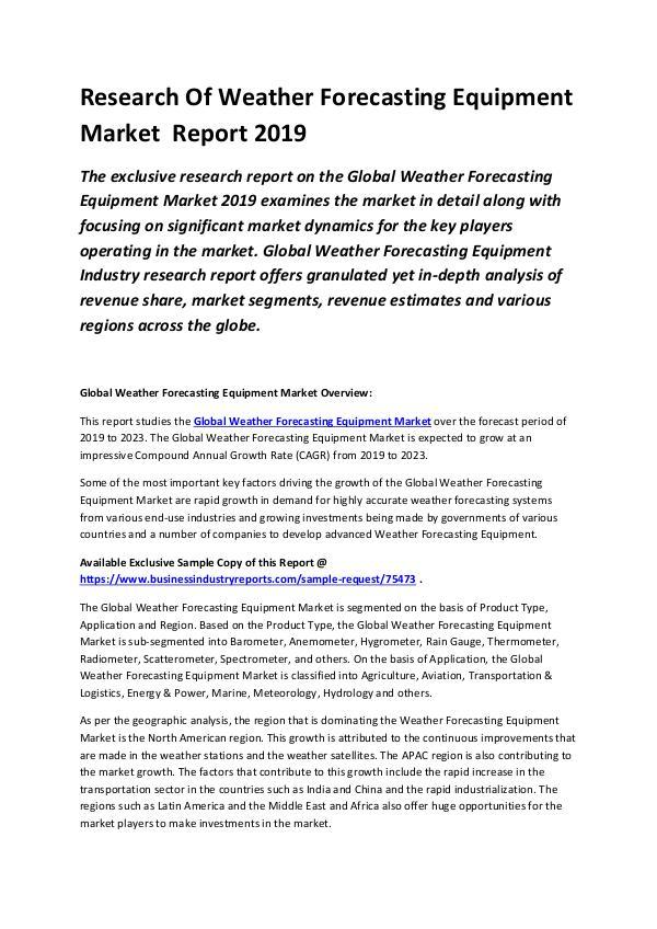 Global Weather Forecasting Equipment Market Resear