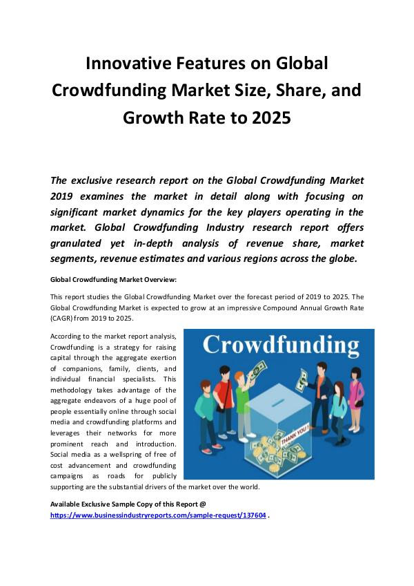 Market Research Reports Global Crowdfunding Market 2019
