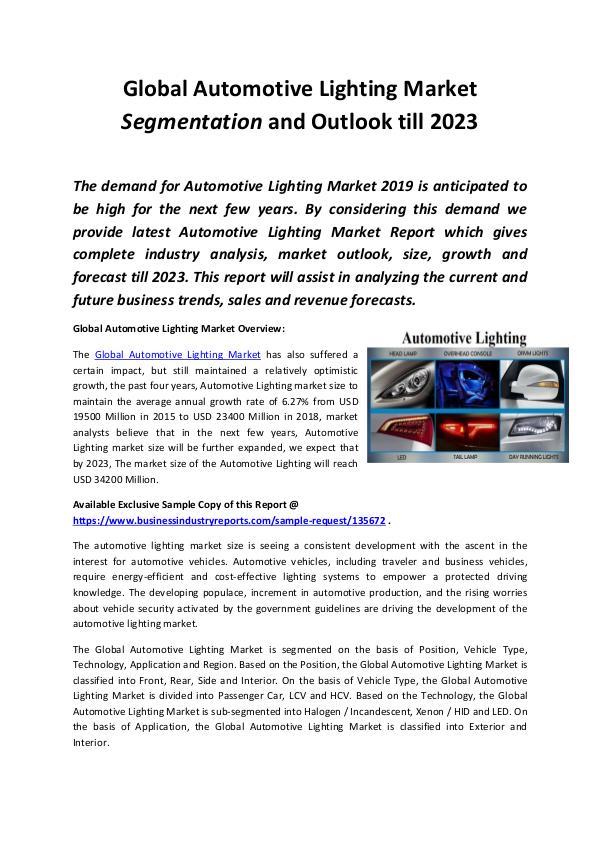 Global Automotive Lighting Market Report 2019