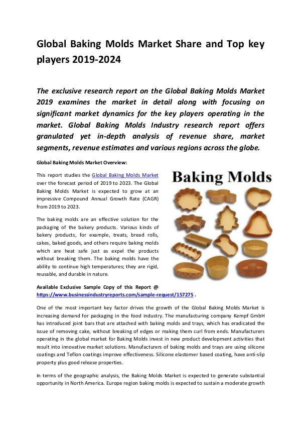 Global Baking Molds Market Report 2019 (1)