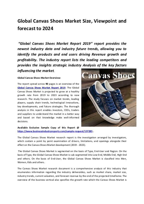 Market Research Reports Global Canvas Shoes Market Report 2019