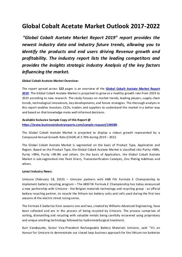 Global Cobalt Acetate Market Outlook 2017-2022 (1)