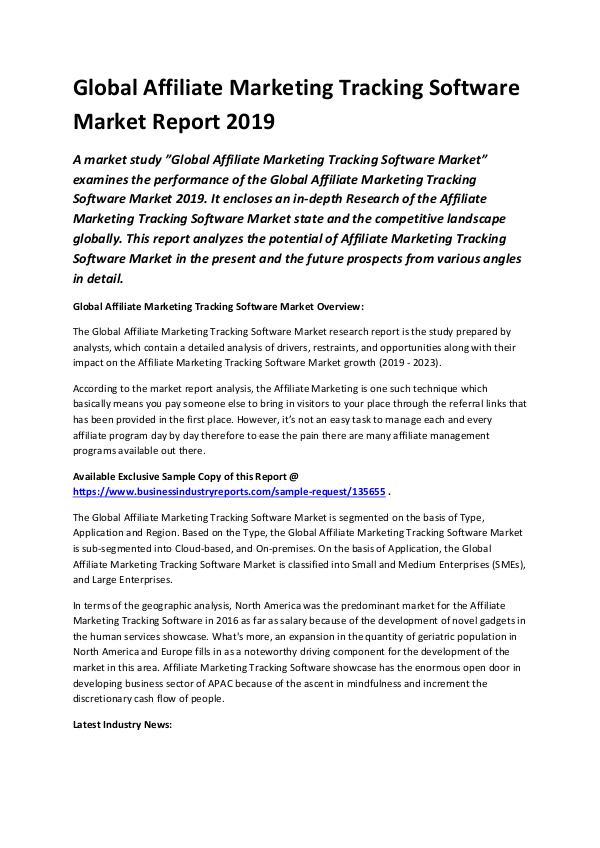 Global Affiliate Marketing Tracking Software Marke